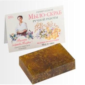 Мыло  Рецепты бабушки Агафьи Природное мыло-скраб ручной работы на основе мыльного корня Мед и овес  фото