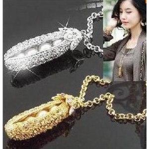 Кулон Aliexpress 2015 New Fashion Fine Jewelry Gold plated Rhinestone Pearl Peas Dazzling Sweater Chain Long Necklaces & Pendants For Women N-45 фото