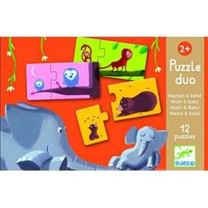 Карточки-пазлы (2 элемента) Djeco Puzzle duo Мама и малыш фото
