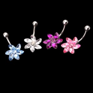 Серьга для пирсинга Aliexpress Fashion Flower Rhinestone Crystal Stainless Steel Belly Navel Button Ring Body Piercing Jewelry Body-0182 фото