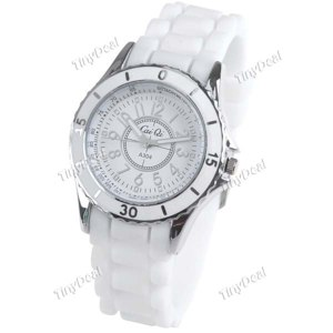 Наручные часы TinyDeal Stylish Quartz Round Wrist Watch Analog Watch Timepiece with Rubber Band for Girl Woman - White Band W7-A304A  фото