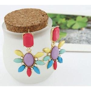 Серьги Aliexpress Multicolour gem rose flower stud earring earrings EH121 фото
