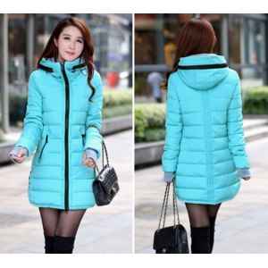 Зимняя куртка AliExpress Women's cotton-padded jacket 2015 winter medium-long down cotton plus size jacket female slim ladies jackets and coats фото