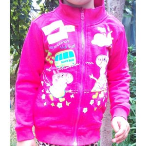 Толстовка AliExpress Nova 2014 girls cotton fuchsia coat children long-sleeved spring autumn clothing for infants Peppa Pig clothing with a zipper free shipping F4373 фото