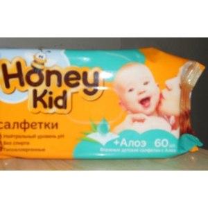 Детские влажные салфетки Honey kid с алоэ фото