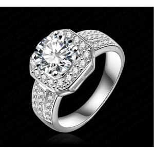 Кольцо Aliexpress Fashion Jewelry Queen Rings 18K Gold/ Platinum Plated Micro Pave Clear AAA Swiss Cubic Zircon Classic Ring For Women CRI0015 фото