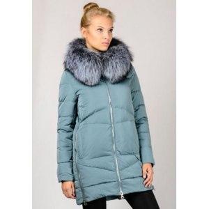 Зимняя куртка Chanevia Пуховик с мехом чернобурки 16819 цвет мята фото
