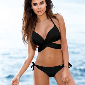 Купальник AliExpress Sporlike Push Up Bikini 2017 Cross Stripe Women Swimwear Swimsuit Halter Top Print Maillot De Bain Biquini Bathing Suits XXL фото