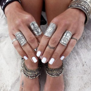 Набор колец Aliexpress 2016 New Bohemia Vintage Gypsy Punk Silver Plated Ring Set Boho Unique Carved Totem Antique Midi Joint Rings for Women 4Pcs/Set фото