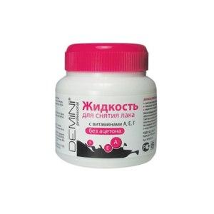 Средство для снятия лака Demini Без ацетона с витаминами A,E,F в баночке фото