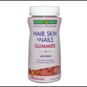 Витамины для волос Nature's Bounty Оптимальные решения, жевательные конфеты для волос, кожи и ногтей, с клубничным вкусом, 80 конфет фото