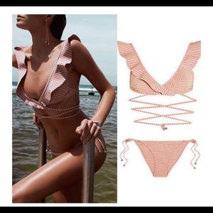 Купальник AliExpress Sexy Women Swimwear Pink Ruffles Bandage Bikini Set 2017 Summer Push-up Padded Bra Bathing Suit Swimsuit фото
