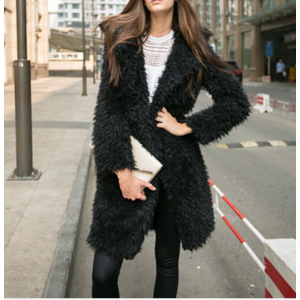 Кардиган AliExpress Autumn Winter Women Fur Coat 2015 Long Sleeve Cardigan Coat Female Warm Big Size Overcoat Solid Pink Slim Warm Women Outwear фото