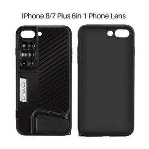 Чехол AliExpress Pholes 6 in 1 Phone Lens with Case for iPhone 7 8 Plus Wide Angle10X Macro Lens Phone Fisheye Telephoto Lens Camera Zoom Lenses фото