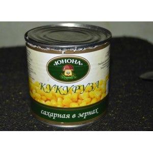 Кукуруза ТМ «Юнона» Сахарная в зёрнах стерилизованная в вакуумной упаковке фото