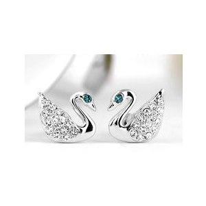 Комплект бижутерии Aliexpress Roxi-Fashion-Jewelry-High-Quality-Charming-Swan-Rose-Gold-Plated-Filled-Shining-Genuine-Austrian-Crystal-Stud фото