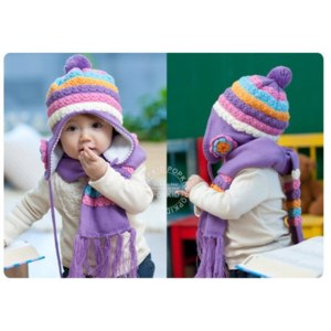 Комплект AliExpress Шапка+шарфик Winter baby cap models cartoon rabbit children baby wool the rainbow hat + rainbow scarf Set  фото