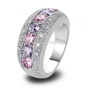 Кольцо Aliexpress Dainty Lovely Round Cut Pink & White Sapphire 925 Silver Ring  фото