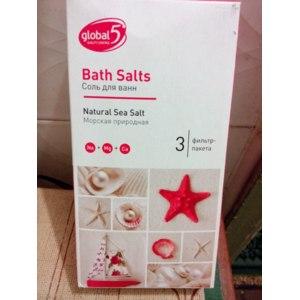 Соль для ванн Global5 Морская природная (Natural Sea Salt) 3 фильтр-пакета фото