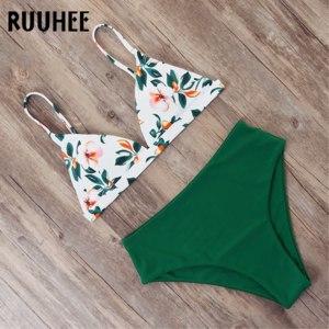 Купальник AliExpress RUUHEE Bikini 2019 Swimwear Women Swimsuit High Waist Bikini Set Push Up Bathing Suit Women Beach wear Maillot De Bain Biquini фото