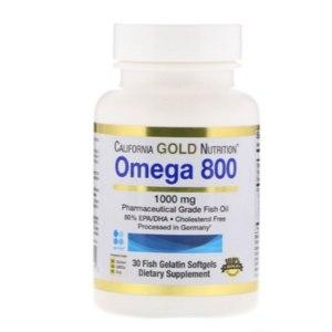 Капсулы Омега 3 California Gold Nutrition Омега 800, Рыбий жир фармацевтического класса. Триглицеридная форма фото