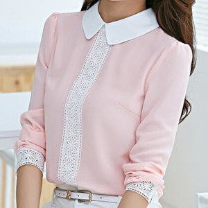 Блузка AliExpress New arrival 2015 Autumn Peter pan collar chiffon blouse, Women's long sleeve Lace Crochet top blouses, white pink women shirts фото