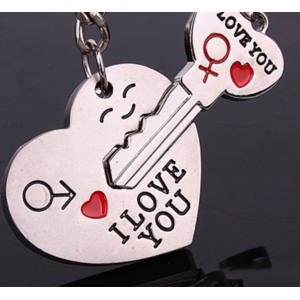 Брелок Aliexpress 2015 Hot Sale Zinc Alloy Silver Plated Lovers Gift Couple Heart Keychain Fashion Keyring Key Fob Creative Key Chain KC-31202 фото