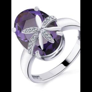 Кольцо STREKOZA jewerly серебряное с аметистом (ювелирный кристалл) и фианитами Арт. К-19а_бр фото