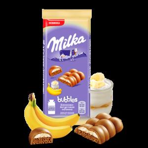 Шоколад молочный пористый Milka «Bubbles» с Бананово-Йогуртовой начинкой фото