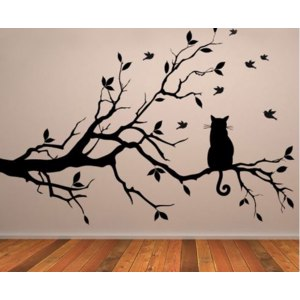 Наклейка на стену Aliexpress Cat On Tree Branch Birds Vinyl Wall Sticker Art Decorative,Glass Window Kitchen  Home Decor фото