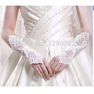 Перчатки Aliexpress $0.99 ONLY! 2015 White or Ivory Bridal Gloves Fingerless Short Lace Wedding Cocktail Party Gloves Cheap In Stock Free shipping фото