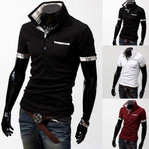 Футболка AliExpress Free shipping The plaid mixed colors Men Slim short sleeve POLO lapel cotton фото