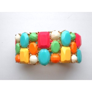 Браслет Aliexpress Exquisite Wide elastic colorful stone Bracelet European fashion bracelet фото