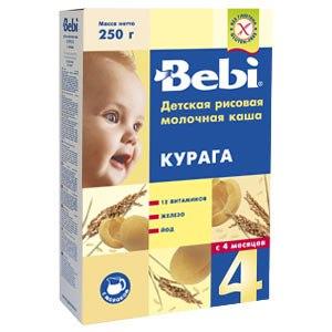 Каша Bebi рисовая молочная с курагой с 4 месяцев.. фото