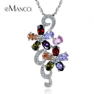 Цепочка с подвеской Aliexpress Multicolor crystal flower pendants statement necklaces pendants eManco 2014 brand fashion women accessories Wholesale TX00003 фото