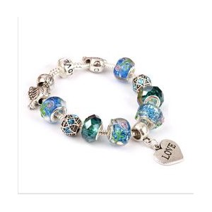 Браслет Aliexpress TOOHOW DIY Jewelry for Women Fashion European Blue Murano Glass Beads Silver Plated Charm Bracelets Bangles free shipping PB29 фото
