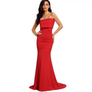 Вечернее платье AliExpress COLROVE Summer Style Elegant Sexy Occasion Red Strapless Maxi Dresses 2016 New Arrival New Sleeveless Long Dress фото