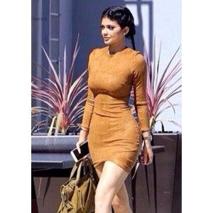 b8eb96bff294 Платье AliExpress 2015 Long Sleeve Slim Party Dress Sexy Club Brown Vestido  Women Winter Dresses Kylie Jenner Skin Tight Faux Suede Bodycon Dress -  отзывы