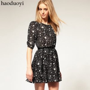 Платье AliExpress women's dress with star printed for wholesale and free shipping haoduoyi фото