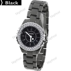 Наручные часы Tinydeal Classic Style Stainless Steel Woman's Quartz Watch Wristwatch Timepiece with Rhinestones for Woman Lady Girl WWM-64023 фото