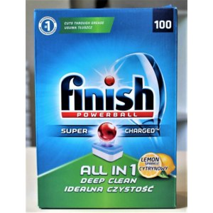 Таблетки для посудомоечной машины Finish Powerball Super Charged All in 1 Lemon  фото