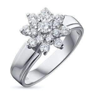 Кольцо ЭПЛ. Якутские бриллианты из белого золота с бриллиантами, арт. э09к091604 фото