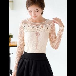 Блузка AliExpress Organza Lace tops O-neck long-sleeve Fashion Hollow Crochet lace Blouse фото
