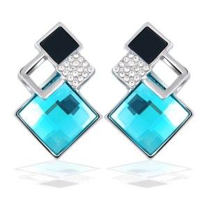 Серьги Aliexpress New Big Brand Fashion Fine Jewelry Earrings Geometric Multiple section Square Crystal Gem Stud Earrings For Woman/Girls brincos фото