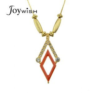 Подвеска Aliexpress New Coming Gold Chain with Red Enamel and Rhinestone Cute Geometric Rhombus Pendant Necklace Female Jewelry фото