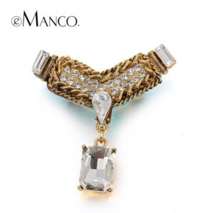 Брошь Aliexpress Big crystal bow copper chain brooches eManco 2016 New promotions High Quality Fashion bijoux Creative fashion jewelry BR02761 фото