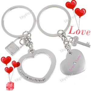 Брелок Tinydeal Pair of Heart Shaped KeyRings KeyChains for Lovers Couples - Silver FKC-68160 фото
