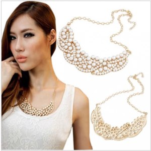 Колье Aliexpress Fashion beads Necklace False Collar Necklace Pearl Hollowed Golden ChokerPendant PMHM015 фото