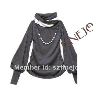 Водолазка AliExpress New Fashion casual Ladies Women's shirt Cotton Lantern Sleeve Long sleeve T-shirts Black White Gray Blue free shipping 7114 фото
