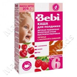 Каша Bebi Пшеничная для полдника. Печенье с малиной и вишней фото
